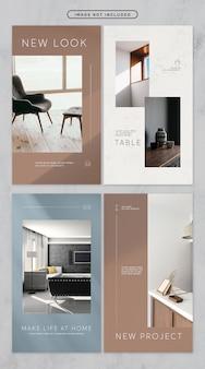 Social media-verhaal minimale meubels thema