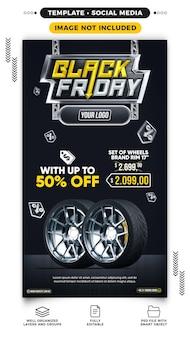 Social media-verhalen black friday-verkoop van autowielen in de aanbieding
