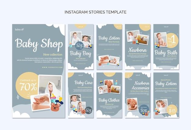 Social media-verhalen van babywinkels