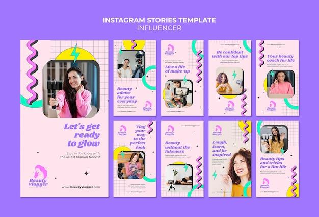 Social media-verhalen van influencer in memphis-stijl Premium Psd