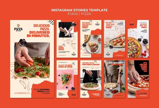 Social media-verhalen van pizzarestaurants