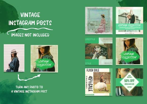 Social media vintage instagram-berichtenbundel