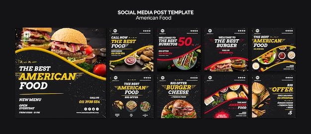 Social media voedsel berichtsjabloon