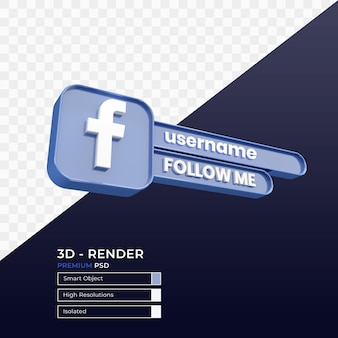 Social media volg ons badge 3d render