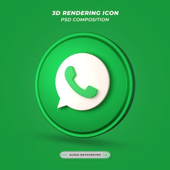 Social media whatsapp-pictogram in 3d-weergave