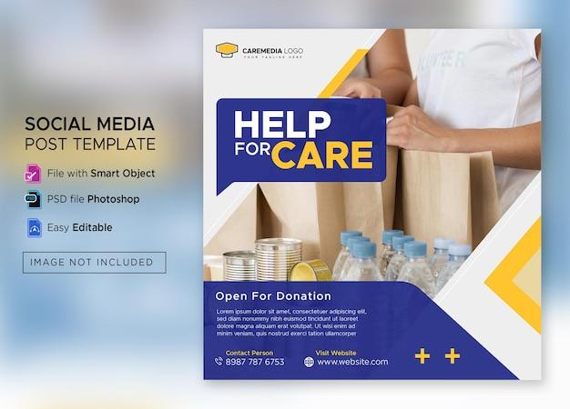 Sociale activiteit en liefdadigheid instagram-post of vierkante flyer-sjabloon premium psd