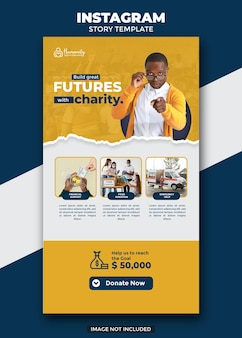 Sociale activiteit liefdadigheidsfonds social media advertentieverhaal postsjablonen