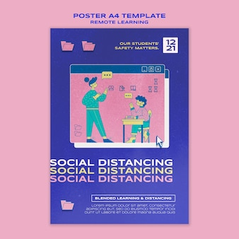 Sociale afstand poster sjabloon