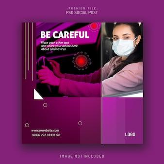 Sociale flyer bericht sjabloonontwerp viruswaarschuwing