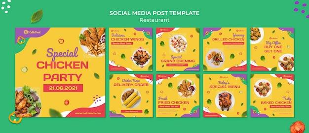 Sociale media-berichten van restaurants Premium Psd