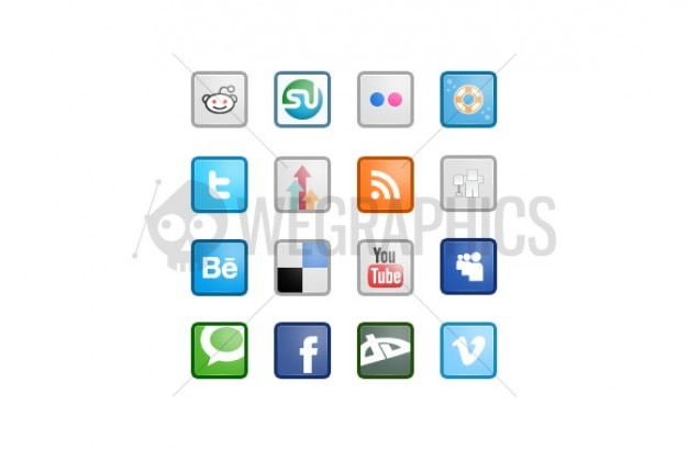 Sociale media iconen in vierkantjes 2