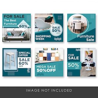 Sociale media na verkoop voor alle meubelcollectiesjablonen