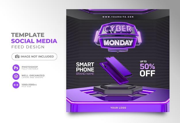 Sociale media plaatsen cyber maandag 3d render voor instagram met superaanbiedingen en promoties