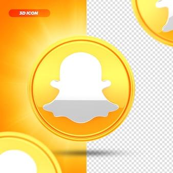 Sociale media snapchat 3d render pictogram geïsoleerd