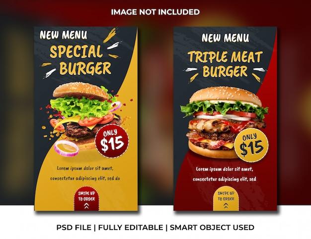 Sociale media verhalen rood en geel thema fast food en restaurant psd-sjabloon