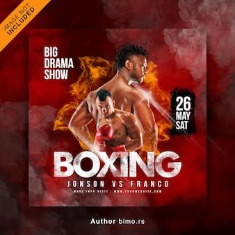 Sociale media voor boksen en instagram-postsjabloon