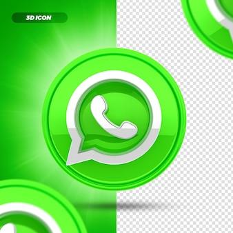 Sociale media whatsapp 3d render pictogram geïsoleerd