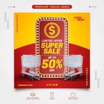 Sociale netwerken supermarkt limited aanbieding super sale met winkelwagentje