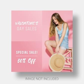 Sociale sjabloonverkoop valentijnsdag