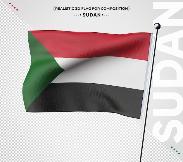 Soedan 3d-vlag met realistische textuur