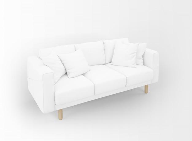 Sofá en blanco realista con mesitas aisladas en blanco