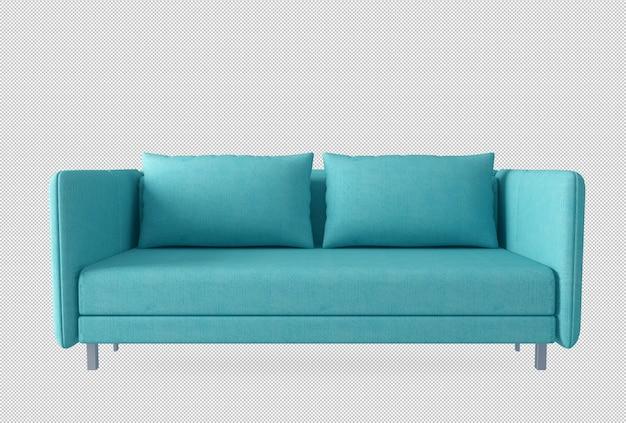 Sofá cian y almohadas en 3d rendering