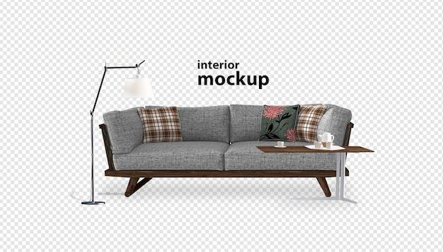Sofa close-up op interieur mockup 3d-rendering