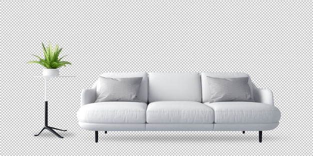 Sofà e pianta bianchi nella rappresentazione 3d