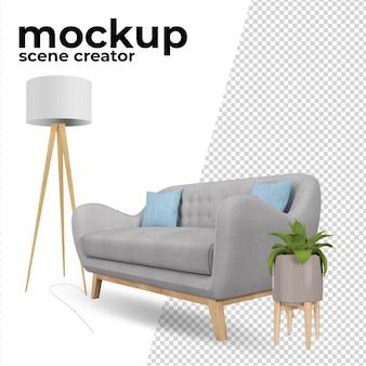 Sofa en boomdecoratie voor thuis in 3d-rendering