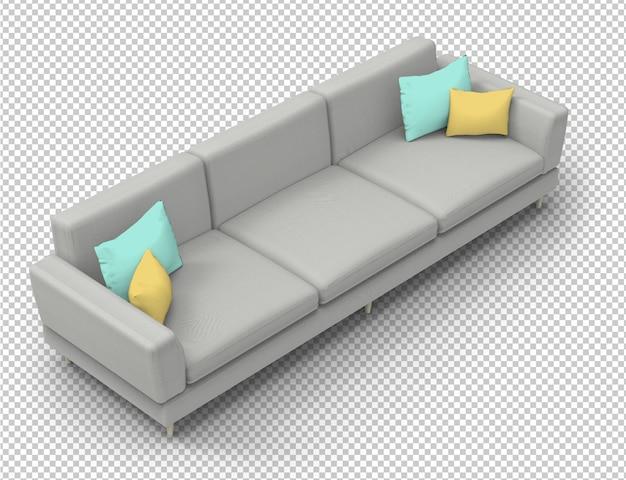 Sofà grigio isolato e cuscini variopinti