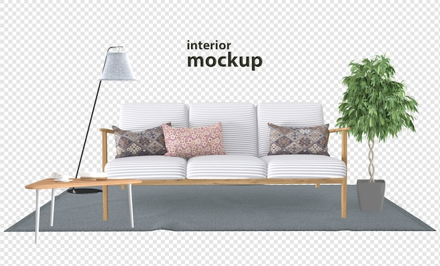 Sofa interieur mockup in 3d-rendering