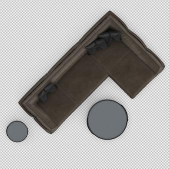 Sofá isométrico 3d aislado render
