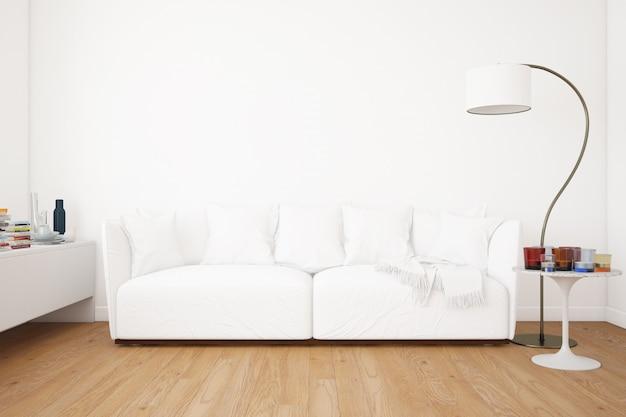 Soggiorno con divano mockup ed elementi decorativi