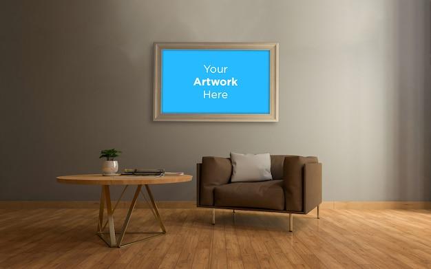 Soggiorno interno divano e tavolo con cornice per foto vuota mockup design