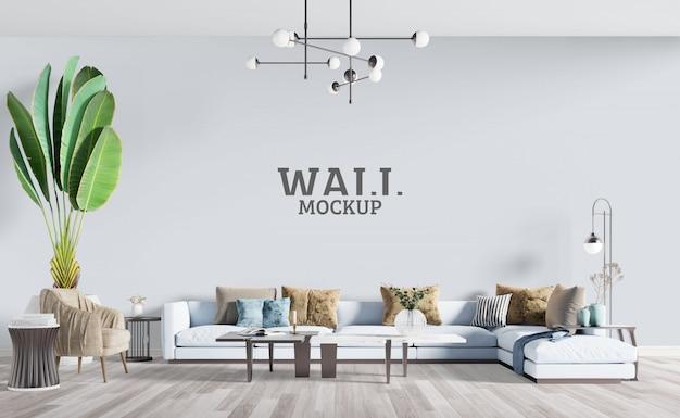 Soggiorno moderno con grande divano. mockup da parete