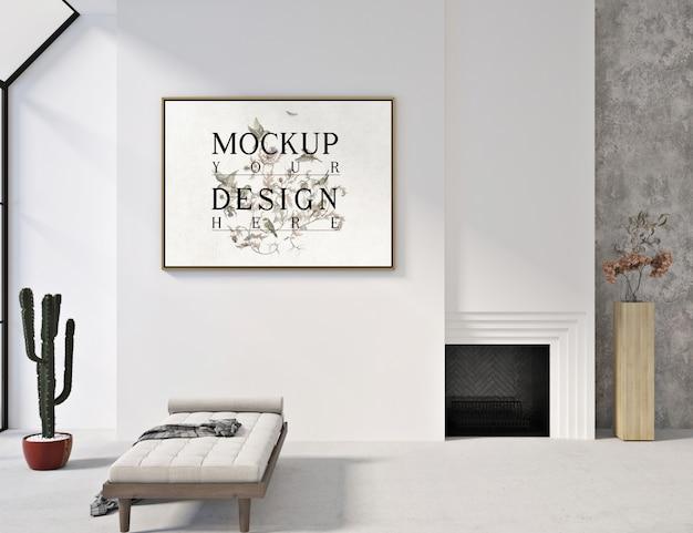 Soggiorno moderno e contemporaneo con poster mockup e panca per divani