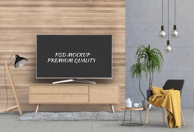 Soggiorno moderno interno con smart tv, armadio e poltrona.