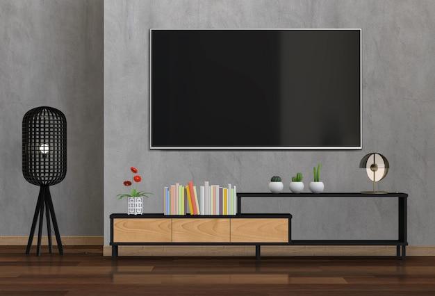 Soggiorno moderno interno con smart tv, armadio