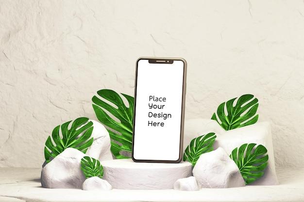 Sokkelmodel voor moderne smartphone met tropische bladeren. digitale marketing, sociale reclame, achtergrond voor productweergave, 3d-rendering
