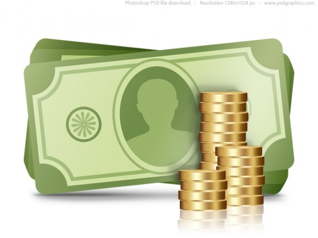 Soldi icona, psd finanza simbolo