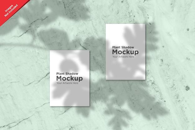 Sombra de planta sobre diseño de maqueta de hoja