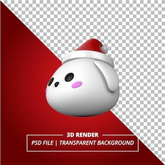 Sombrero de navidad de conejito 3d sobre fondo transparente