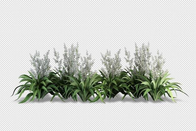Sometrische planten in pot 3d-rendering geïsoleerd
