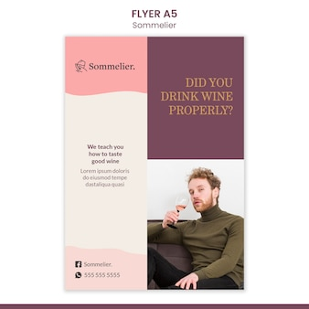Sommelier advertentie folder sjabloon