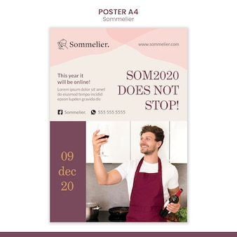 Sommelier advertentie poster sjabloon