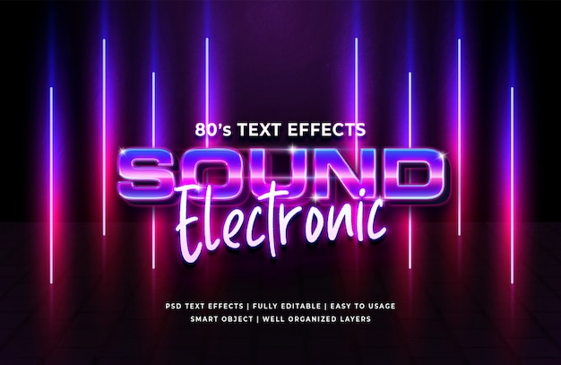 Sonido electrónico efecto de texto retro de los 80