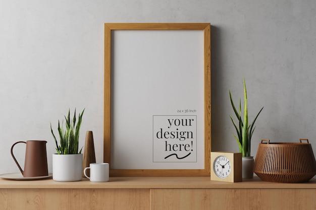 Soporte de lienzo, póster de papel, obra de arte en maqueta de marco de madera