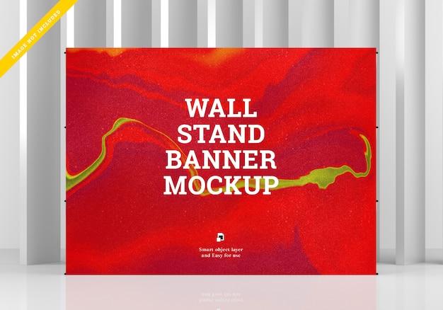 Soporte de pared banner maqueta. plantilla psd.