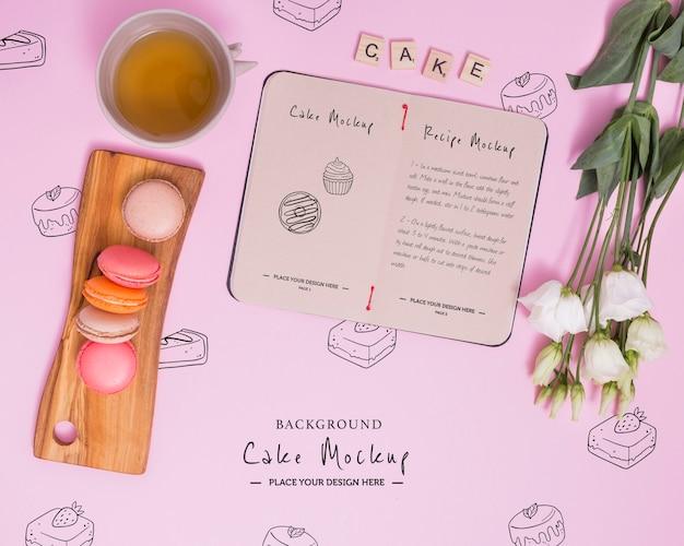 Sopra vista macarons e disposizione del tè