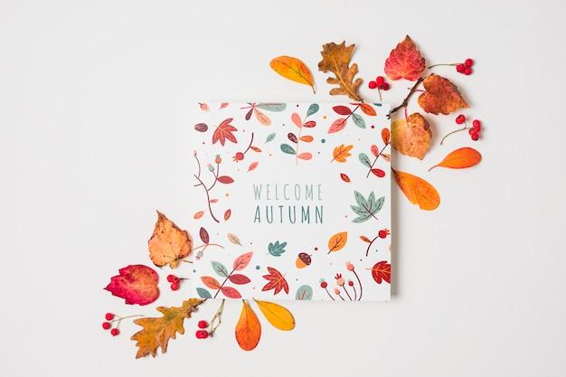 Sopra vista tipografia con foglie gialle